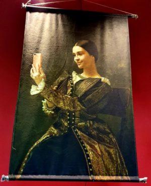 Wanddoek wandkleed canvasdoek portret, vintage uit de victoriaanse romantische dame , een selfie met een knipoog.