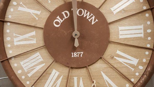 Wandklok Old Town hout metaal roest