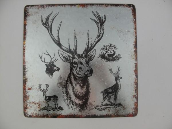 Wandplaat ijzeren afbeelding van hert witt. leuke stoere sobere wandplaat, voor aan de muur. Maar ook leuk op een sidetable naast een lantaarn , of bij een paar kaarsen kandelaar. leuk om geven , maar ook leuk om te krijgen.