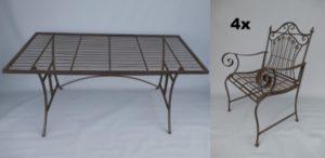 Tuinset bruin tafel vier stoelen