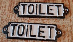 Toilet gietijzer wandbordje