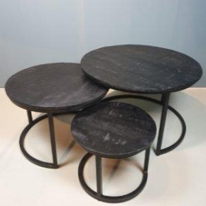 Salontafel mango hout  set van drie zwart