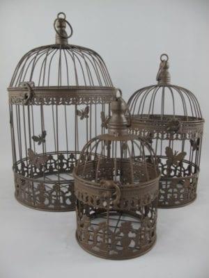 Vogelkooi set van drie  roest bruin