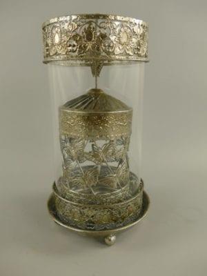 Lantaarn/windlicht met draaiende effect zilver