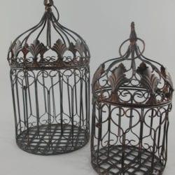 Vogelkooi set van twee roest bruin