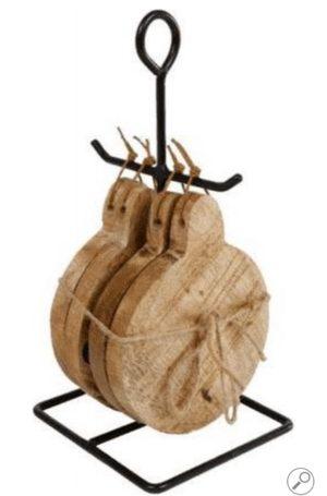 Onderzetter met standaard rond naturel hout