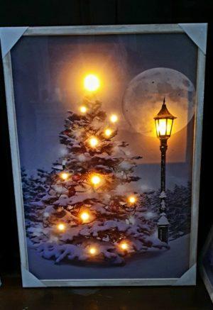 Schilderij kerstboom op canvas 17 led