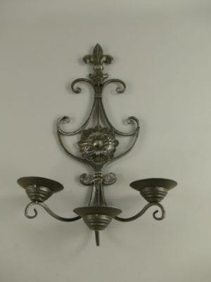Wandkandelaar rustiek grijs