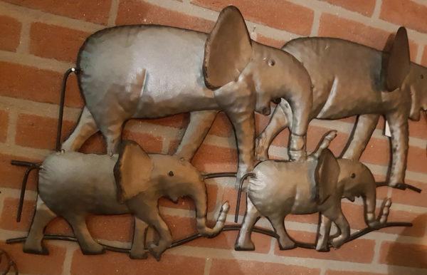 Wanddecoratie olifant metaal zilver