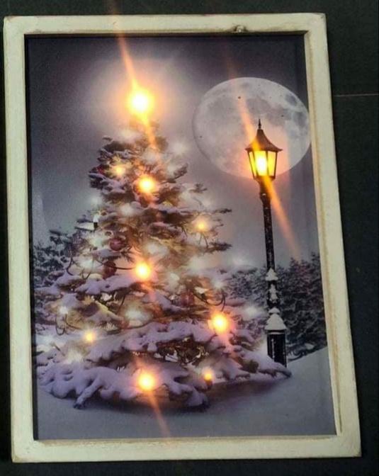Schilderij kerstboom op canvas 8 led