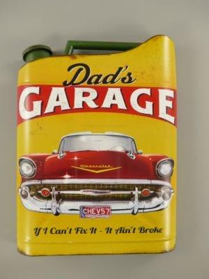 Wandbord reclamebord jerrycan Dad's garage