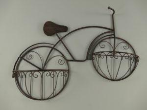 Metalen plantenbak model fiets bruin