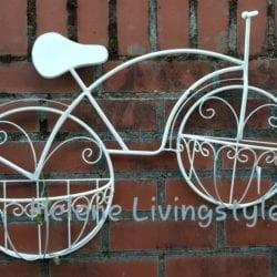 Metalen plantenbak fiets wit