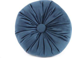 Kussen Alize velvet rond blauw