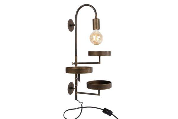 Wandlamp met drie plateau's goud metaal, leuk om plantjes op te plaatsen.