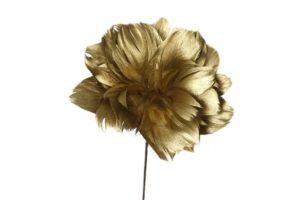 Veren bloem op staal goud 60cm