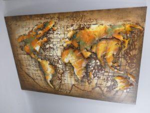 Wereldkaard schilderij 3D metaal