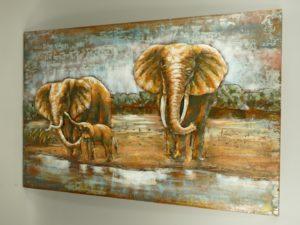 Olifanten schilderij 3D metaal.