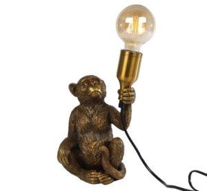 Tafellamp zittende Monkey goud