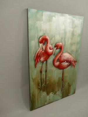Flamingo schilderij 3D metaal