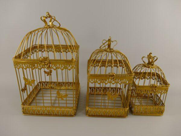 Vogelkooi set van drie goud