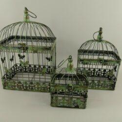 Vogelkooi set van drie groen